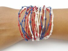 Handcrafted Red White Blue Design Wax Cotton Fairtrade Womens BRACELET Wristband