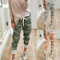 Damen Camo Drawstring Elastic Waist Jogger Pants Long Slacks Sweatpants Hosen