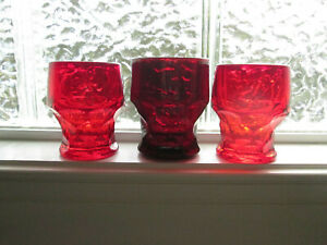 3 Vintage Georgian Ruby Red Glass 5 or 6 Oz Tumblers Set of 3 Anchor Hocking ?