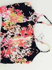 ALL ABOUT EVE WOMENS CROP TOP Black FLORAL PRINT VISCOSE NWT SZ 10