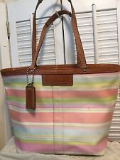 Coach Hampton Melon Stripe Tote Signature Graffiti Reversible Handbag F13552