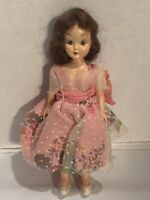 Vintage PMA Plastic Molded Arts Doll Pink Floral Dress Brown Hair