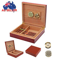 20 Count Cedar Wooden Lined Cigar Humidor Humidifier with Hygrometer Case Box