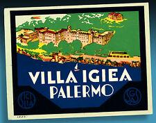 ALTER KOFFERAUFKLEBER | LUGGAGE LABEL 40er VILLA IGIEA PALERMO SICILIA