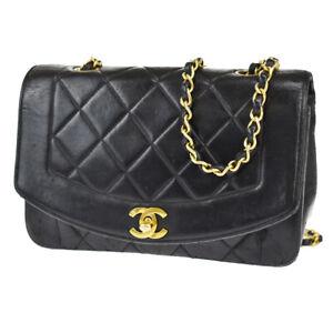 CHANEL CC Logo Matelasse Diana Chain Shoulder Bag Leather Black France 30JE222