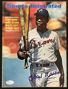 Hank Aaron Signed Sports Illustrated 8/18/69 NO LABEL Rookie Baseball HOF JSA