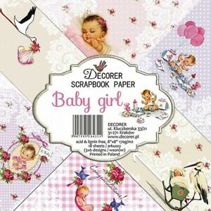 """Decorer Baby Girl 8"""" x 8"""" Paper Pad 18 Sheets 170gsm New"""