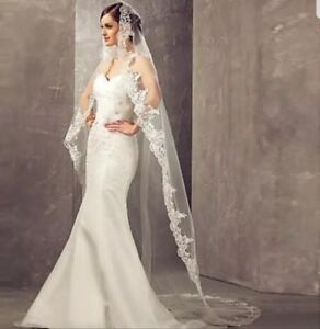UK 3 Meters White Ivory 1 Tier Cathedral Bridal Wedding Veil With comb Lace Edge