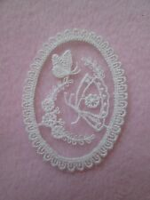1 PR (2) GORGEOUS WHITE EMBROIDERED ON NET OVAL LACE BUTTERFLY APPLIQUE
