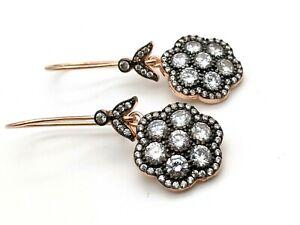 Women's Rose Gold 925 Sterling Silver Earrings White Topaz