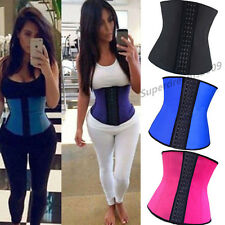 UK 100% Latex Underbust Body Shaper Waist Cincher Corset Training Trainer 6-16