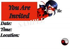 Miraculous Invitations with matching envelopes, Ladybug, birthday 12pack