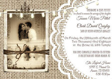 50 Burlap and Lace Rustic Wedding Invitations 5x7 - with envelopes