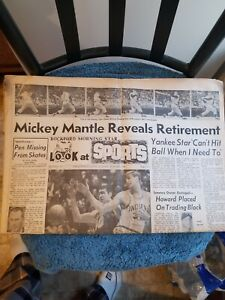 3/2/69 MICKEY MANTLE REVEALS RETIREMENT ILLINOIS SPORTS SECTION GROBEE1957