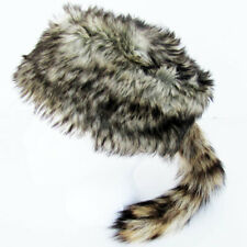 Daniel Boone /& Davy Crockett Style Raccoon Hat Synthetic Cap with Real Raccoon Tail