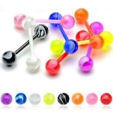 Set of 8 Flexi MARBLE Tongue / Nipple Bars
