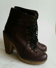 Next  Women's Brown Leather Ankle Boots High Heel Platform UK Size 6.5 EUR 40