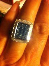 Diamond Monture, Blue & White Ring 0.5ctw. Sterling Silver