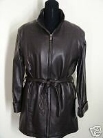 Tibor Brown size S NEW zip up collar belted  leather coat