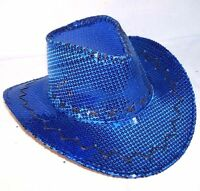 607de3aebd9 SEQUIN BLUE COWBOY HAT cowgirl hats western pageant caps cowboys rodeo head  wear
