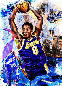 2021 Kobe Bryant Los Angeles Lakers 1/25 Art ACEO Purple Print Card By:Q