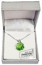 """Four Leaf Clover Necklace Green New 18"""" Silver Tone Made with Swarovski Crystal"""