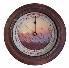 TIDE CLOCK Antique Compass #562R Rustic Wood 9 inch frame tells high/low tide