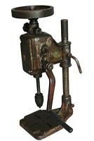 "22.4"" RARE Antique Cast Iron Crank Drill Table Vintage press tool"