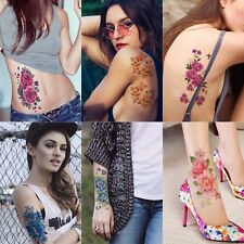 6 Sheets Floral Temporary Tattoo Over 30+ Tattoos Sexy Tattoo Sticker for Women