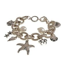 """8"""" or 8 3/4"""" Adjustable Starfish Shell White Pearl Beach Silver Charm Bracelet"""