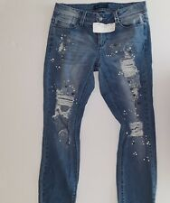 Blue Spice Women's New Holl Destructed Pearl Embellishment Jeans Blue Size 26