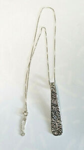 Sterling Wildflowers Pendant REPOUSSE  Repurposed Silverware on 925 Boxed Chain