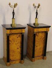 Pair antique art Deco blonde burl birch bedsides cabinets marble top Biedermeier