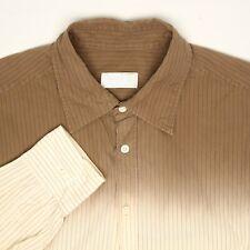Prada Mens Shirt 43 17 Brown Cream Ombre Pinstripe Button Front Cotton Italy