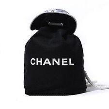 CHANEL VIP Black Canvas Drawstring Makeup Jewelry Cosmetic Bag NEW FREE SHIP