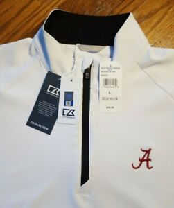 NWT New Men's Large Alabama Crimson Tide Cutter And Buck 1/4 Zip Pullover