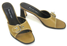 Etienne Aigner Womens Heels 9 Chi Chi Caramel Tan Leather Buckle Slides Sandals