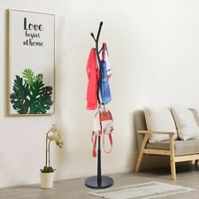 Coat Rack Free Standing With With 8 Hooks, Wood Coat Tree Hall Entryway Black