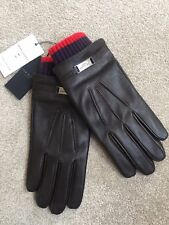 TED BAKER CHOCOLATE BROWN BOVINE LEATHER SMART GLOVES SIZE M/L BNWT