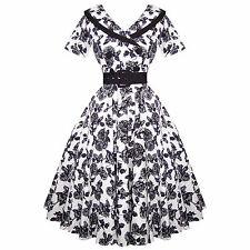 Hell Bunny Cotton Blend Party Floral Dresses for Women