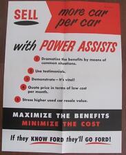 Vtg 1955 FORD Car Salesman Training POWER ASSISTS Poster Sign Showroom