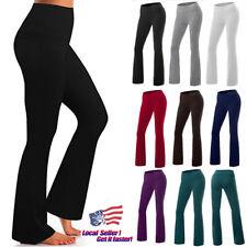 Womens High Waist Yoga Pants Wide Leg Boot Flared Slim Sports Leggings Trousers