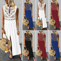 Women Sleeveless Bohemia Long Maxi Dress Summer Beach Party Sundress Kaftan Plus