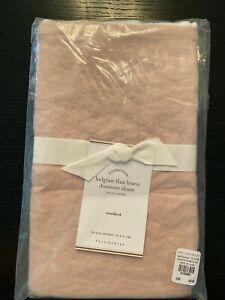 NEW Pottery Barn Belgian Flax Linen Contrast Flange Stndard Sham Soft Rose White