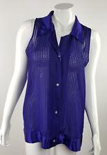 Victoria's Secret Women Small Purple Checkered Sheer Collared Button Up Blouse