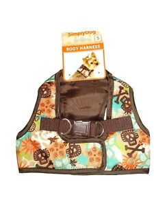 Simply Dog Dog Body Harness Small Brown with Multi Colored Skull and X Bones