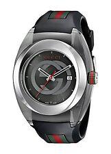 New Gucci YA137101 Sync XL Swiss Black Striped Rubber Strap Watch
