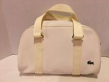 Lacoste Handbag Pearl White Polyester - Green striped Lining - See pictures