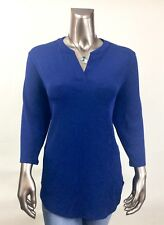 CHICO'S TRAVELERS *NEW SIZE 2 (L) BLUE V NECK 3/4  SLEEVES TUNIC TOP
