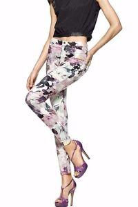 HUE U15379 Sweet Lilac Floral Super Smooth Stretch Denim Legging  - MSRP $44
